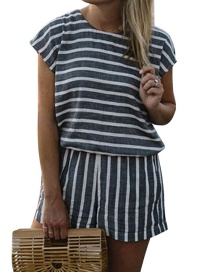 Fashion Black Stripe Pattern Decorated Short Sleeves Jumpsuit