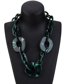 Fashion Dark Green Pure Color Decorated Necklace
