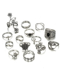 Fashion Silver Color Flower Shape Decorated Ring (14 Pcs )