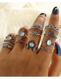 Fashion Silver Color Diamond Decorated Ring (12 Pcs )