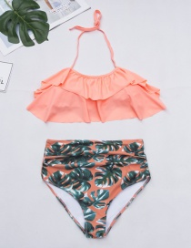 Fashion Orange Leaf Pattern Decorated Bikini