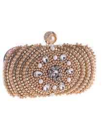 Fashion Champagne Diamond&pearl Decorated Handbag