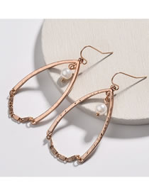 Fashion Rose Gold Pearl Decorated Earrings