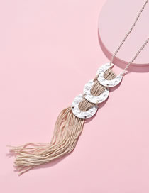 Fashion Silver Color Tassel Decorated Pure Color Necklace