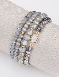 Fashion Silver Color Bead Decorated Bracelet (4 Pcs)