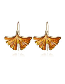 Simple Yellow Leaf Shape Decorated Earrings