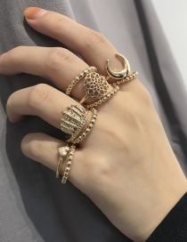 Fashion Gold Color Pure Color Decorated Hollow Out Ring ( 9 Pcs )