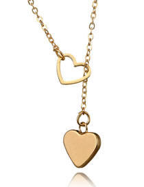 Vintage Gold Color Heart Shape Design Pure Color Necklace