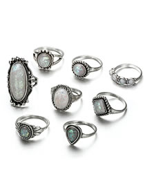 Vintage Antique Silver Oval Shape Gesmtone Decorated Rings(8pcs)