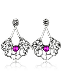 Vintage Purple+silver Color Hollow Out Design Irregular Shape Earrings