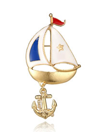 Fashion Gold Color Naval Vessel Shape Design Simple Brooch