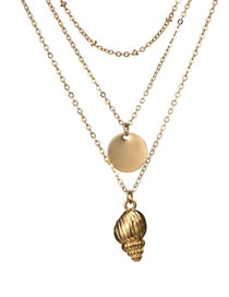 Fashion Gold Color Conch Decorated Double Layer Necklace