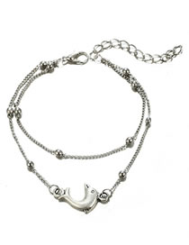 Fashion Silver Color Dolphin Shape Decorated Pure Color Anklet