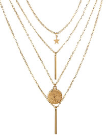 Fashion Gold Color Vertical Shape Decorated Long Necklace