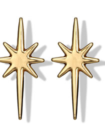 Fashion Gold Color Star Shape Design Pure Color Earrings