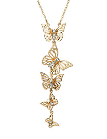Fashion Gold Color Butterfly Shape Decorated Long Necklace