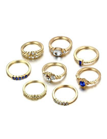 Fashion Gold Color Diamond Decorated Simple Rings(8pcs)