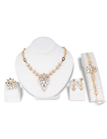 Fashion White Diamond Decorated Jewelry Set