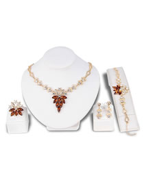 Fashion Champagne Diamond Decorated Jewelry Set
