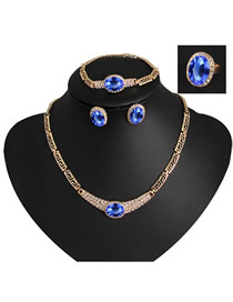Fashion Sapphire Blue Diamond Decorated Jewelry Set