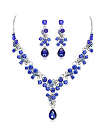 Fashion Sapphire Blue Water Drop Shape Decorated Jewelry Set