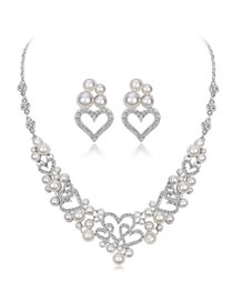 Fashion Silver Color Heart Shape Decorated Jewelry Set