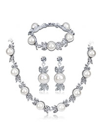 Fashion White+silver Color Pearl&diamond Decorated Jewelry Set