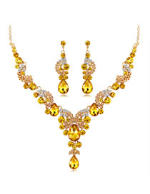Fashion Champagne Water Drop Shape Decorated Jewelry Set