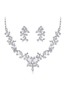 Fashion Silver Color Diamond Decorated Jewelry Set