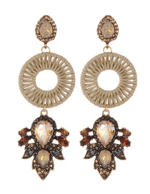 Fashion Khaki Water Drop Shape Decorated Earrings