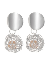 Fashion Silver Color Pearl Decorated Pure Color Earrings