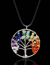 Fashion Multi-color Tree Shape Design Color Matching Necklace