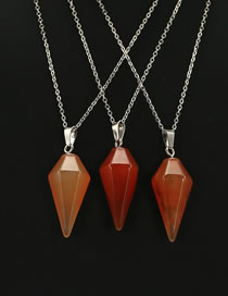 Fashion Brown Hexagonal Prism Shape Decorated Necklace