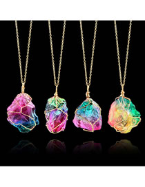 Fashion Multi-color Stone Decorated Color Matching Necklace