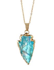Fashion Blue Arrow Shape Decorated Simple Necklace