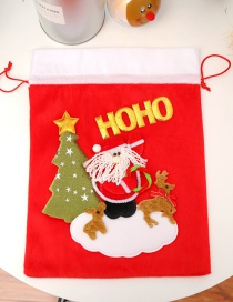 Fashion Red Christmas Tree&elk Decorated Gift Bag