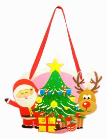 Fashion Green+red Santa Claus&elk Decorated Diy Gift Bag