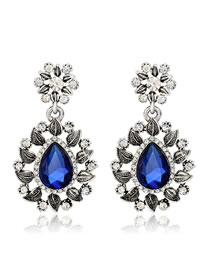 Elegant Sapphire Blue Hollow Out Flowers Decorated Earrings