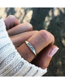 Fashion Silver Color Letter Mom Pattern Decorated Ring