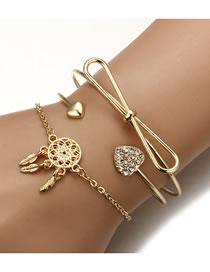 Fashion Gold Color Dreamcatcher Shape Decorated Bracelet(3pcs)