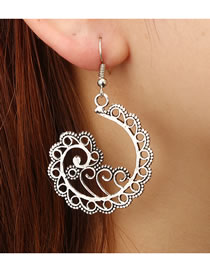 Fashion Silver Color Hollow Out Clouds Shape Design Earrings