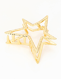 Elegant Gold Color Star Shape Design Pure Color Hair Claw
