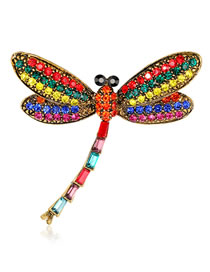 Fashion Multi-color Dragonfly Shape Decorated Brooch