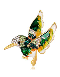 Fashion Green Bird Shape Decorated Brooch