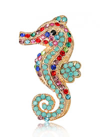 Fashion Multi-color Seahorse Shape Decorated Brooch