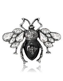 Fashion Black Bee Shape Decorated Brooch