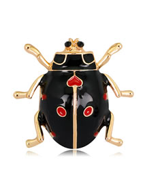 Fashion Black Ladybug Shape Decorated Brooch