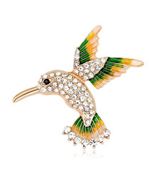 Fashion Gold Color Bird Shape Decorated Brooch