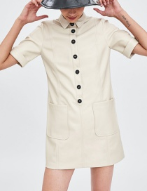 Fashion Beige Short Sleeves Design Pure Color Dress