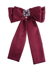 Fashion Claret Red Pure Color Decorated Bowknot Brooch